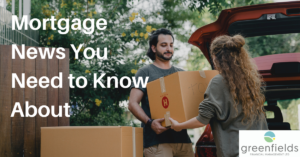 Couple moving boxes, text reads 'mortgage news you need to know about'